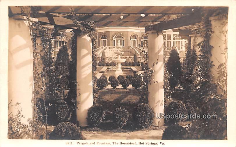 Pergola and Fountain - Hot Springs, Virginia VA Postcard