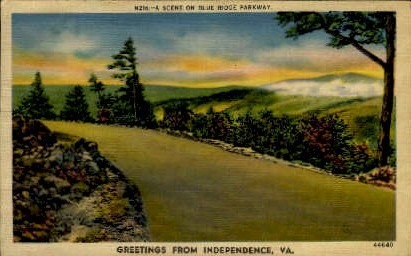 Blue Ridge Parkway - Independence, Virginia VA Postcard