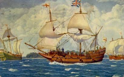 The First Three Ships - Jamestown, Virginia VA Postcard