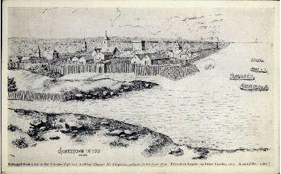 Jamestown in 1622 - Virginia VA Postcard