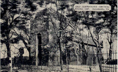 Old Jamestown Church - Virginia VA Postcard