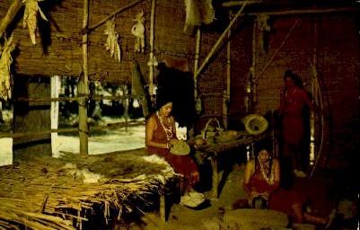 Chief Powhatan's Lodge - Jamestown, Virginia VA Postcard