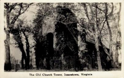 The Old Church Tower - Jamestown, Virginia VA Postcard