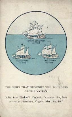 Ships, Founders of the Nation - Jamestown, Virginia VA Postcard