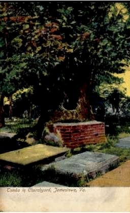 Tombs in Churchyard - Jamestown, Virginia VA Postcard
