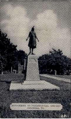 Monument of Pocahontas - Jamestown, Virginia VA Postcard