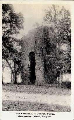 The Famous Old Church Tower - Jamestown Island, Virginia VA Postcard