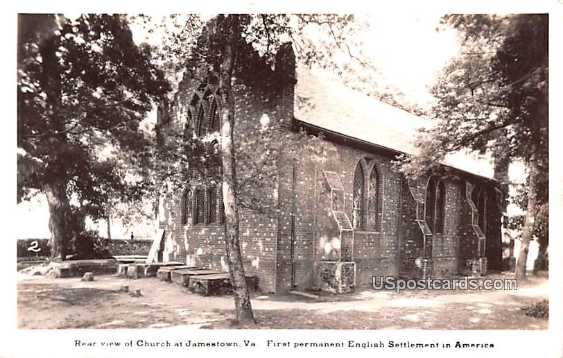 Rear View of Church - Jamestown, Virginia VA Postcard