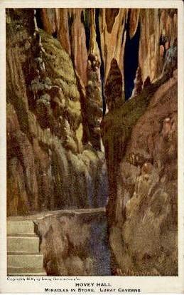 Hovey Hall In Lluray Caverns - Virginia VA Postcard