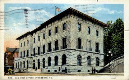 U. S. Post Office - Lynchburg, Virginia VA Postcard