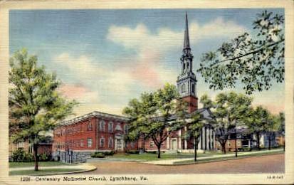 Centernary Church - Lynchburg, Virginia VA Postcard