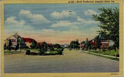Dodd Boulevard - Langley Field, Virginia VA Postcard