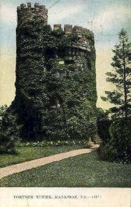 Portner Tower - Manassas, Virginia VA Postcard