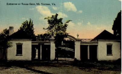 Entrance or Texas Gate - Mount Vernon, Virginia VA Postcard