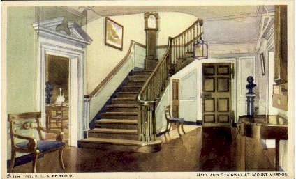 Hall And Stairway - Mount Vernon, Virginia VA Postcard