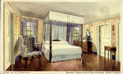 General Washingtons's Bed Chamber  - Mount Vernon, Virginia VA Postcard