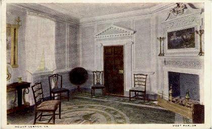 West Parlor - Mount Vernon, Virginia VA Postcard