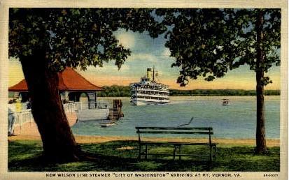 New Wilson Line Steamer - Mount Vernon, Virginia VA Postcard