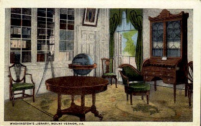 Washington's Library - Mount Vernon, Virginia VA Postcard