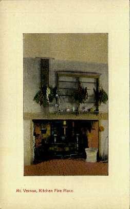 Kitchen Fire Place - Mount Vernon, Virginia VA Postcard