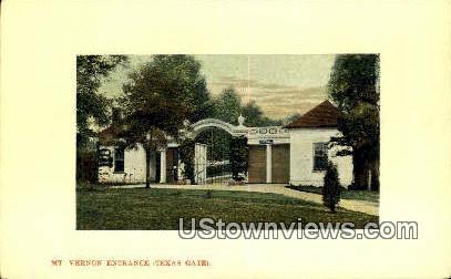 Entrance Texas Gate - Mount Vernon, Virginia VA Postcard