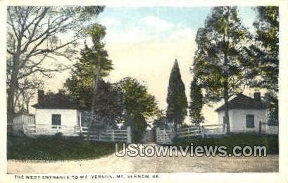 The West Entrance - Mount Vernon, Virginia VA Postcard