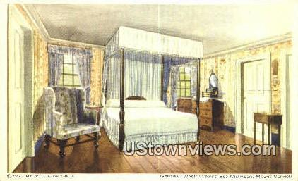 General Washington's Bed Chamber - Mount Vernon, Virginia VA Postcard