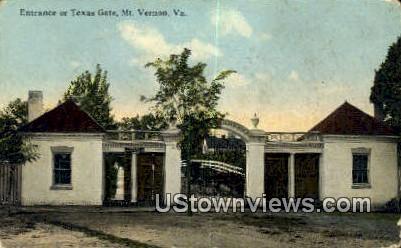 Entrance To Texas Gate - Mount Vernon, Virginia VA Postcard