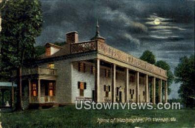 The Mansion By Night - Mount Vernon, Virginia VA Postcard