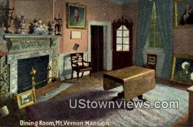 Dining Room - Mount Vernon, Virginia VA Postcard
