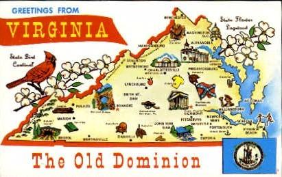 Greetings From - Misc, Virginia VA Postcard