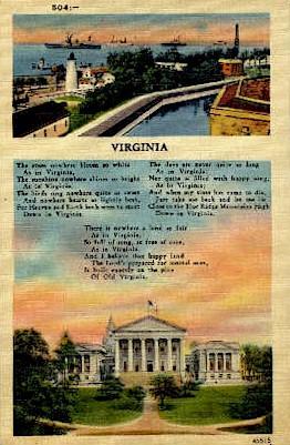 Down In Virginia - Misc Postcard