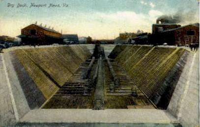 Dry Dock  - Newport News, Virginia VA Postcard