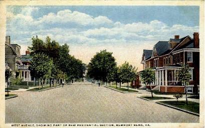 West Avenue - Newport News, Virginia VA Postcard