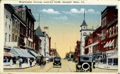 Washington Avenue - Newport News, Virginia VA Postcard