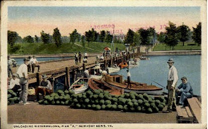Unloading Watermelons - Newport News, Virginia VA Postcard