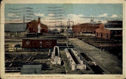 View In Newport News Ship Yards - Virginia VA Postcard