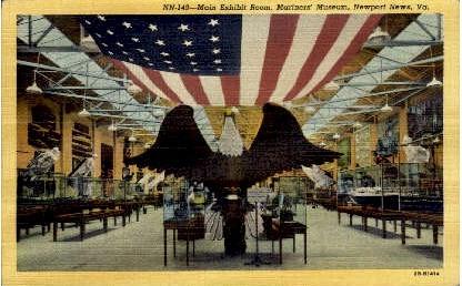 Main Exhibit Room - Newport News, Virginia VA Postcard