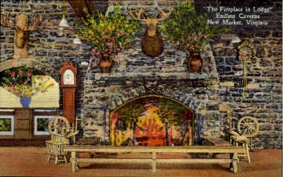 Fireplace in Lodge - New Market, Virginia VA Postcard