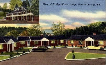 Motor Hotel - Natural Bridge, Virginia VA Postcard