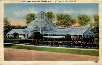 Flower Beds And Conservatory - Norfolk, Virginia VA Postcard
