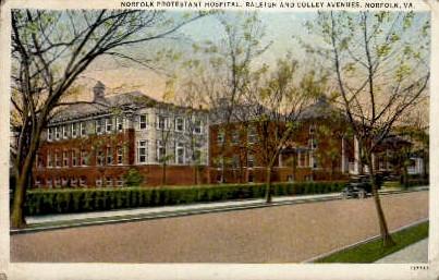 Protestant Hospital - Norfolk, Virginia VA Postcard