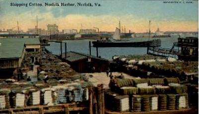 Shipping Cotton - Norfolk, Virginia VA Postcard