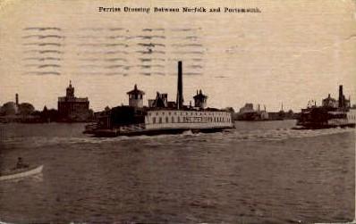 Ferries Crossing Between - Norfolk, Virginia VA Postcard