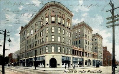 Hotel Monticello - Norfolk, Virginia VA Postcard