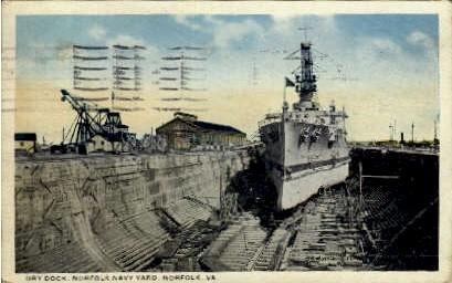 Dry Dock  - Norfolk, Virginia VA Postcard