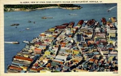 Aerial View Of Downtown - Norfolk, Virginia VA Postcard