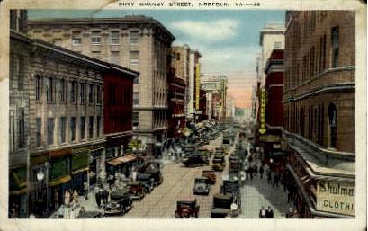 Busy Granby Street - Norfolk, Virginia VA Postcard