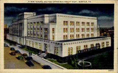 New Federal Building And Post Office - Norfolk, Virginia VA Postcard