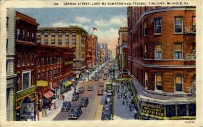 Gramby Street - Norfolk, Virginia VA Postcard